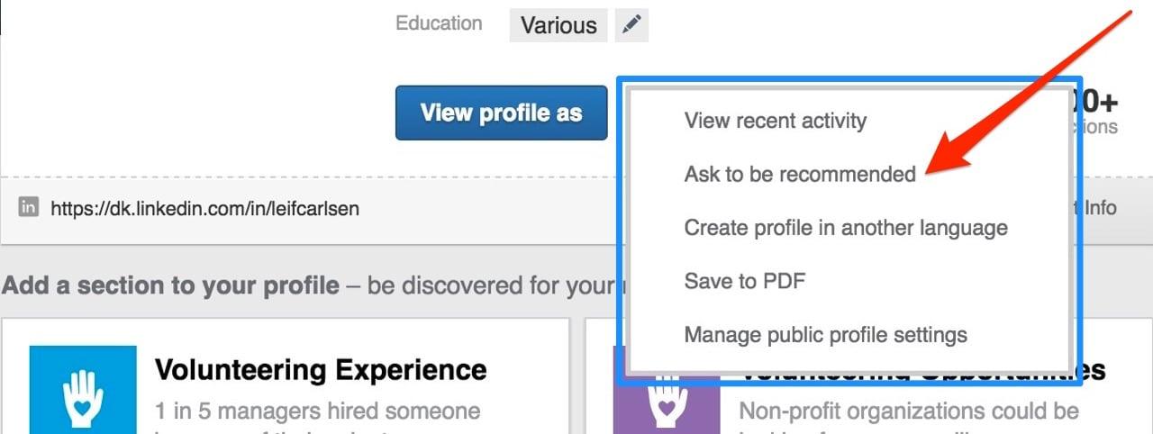 Sådan beder du om at få en anbefaling i LinkedIn