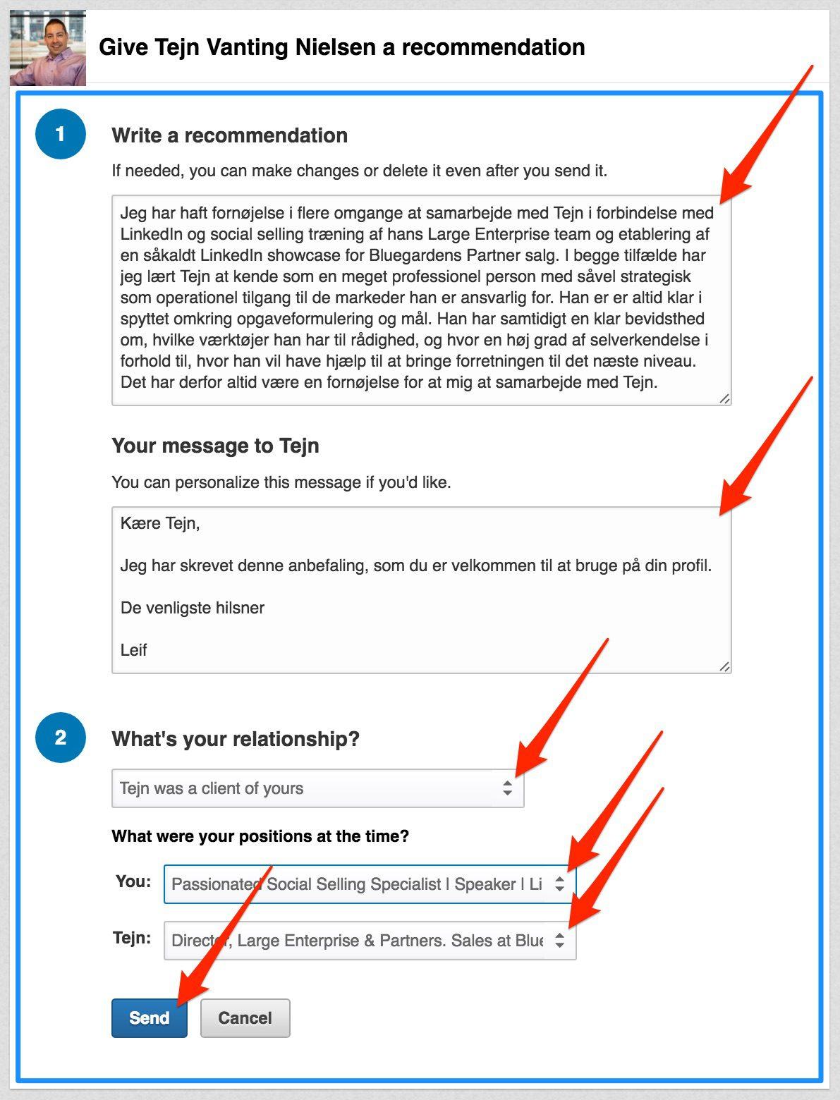 Eksempel på LinkedIn anbefaling