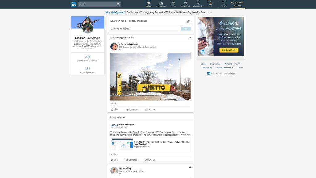 Nyt LinkedIn desktop look: Nyhedsstrøm