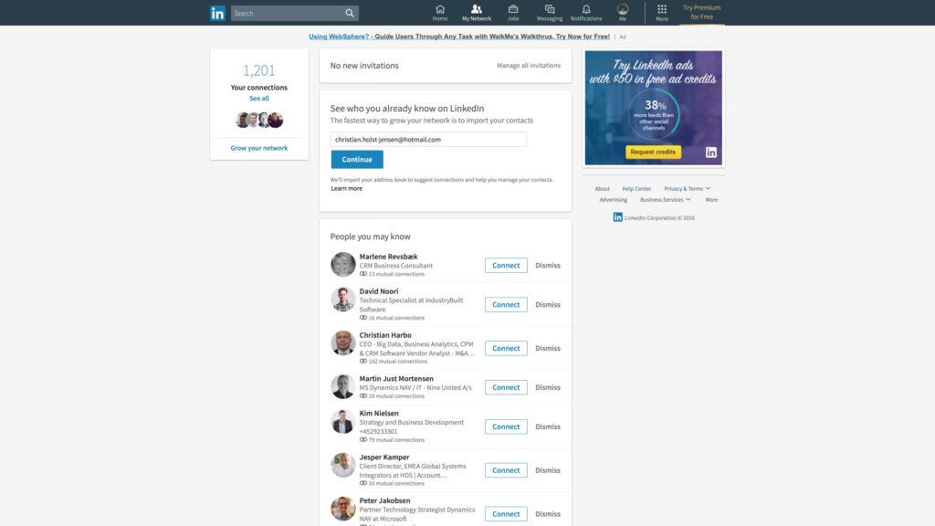 Nyt LinkedIn desktop look: Forbindelser