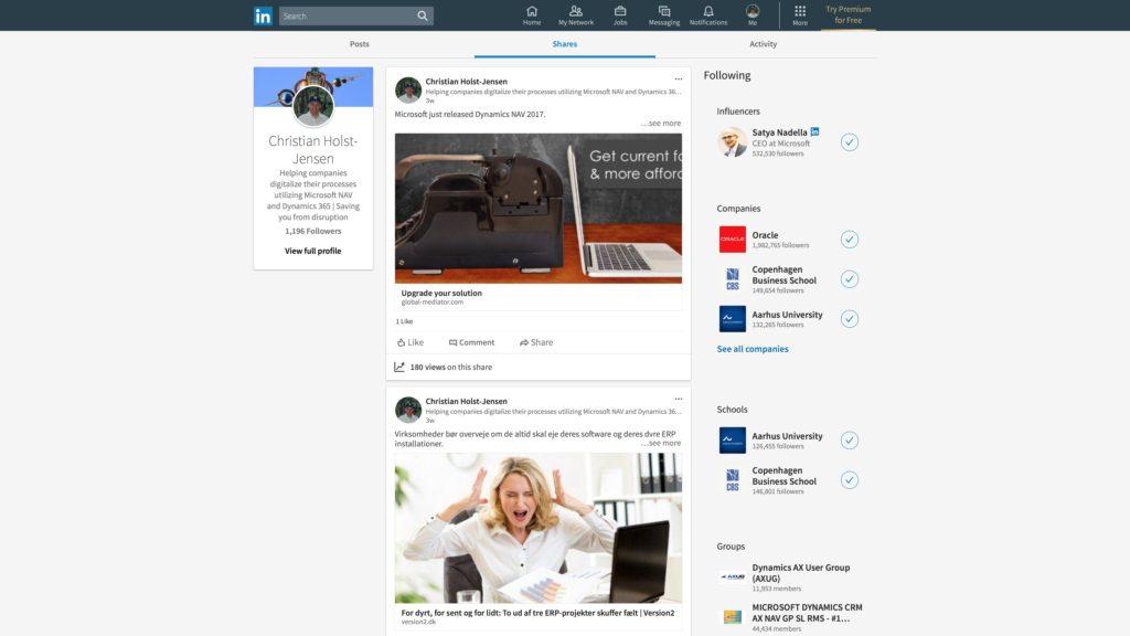 Nyt LinkedIn desktop look: Delinger