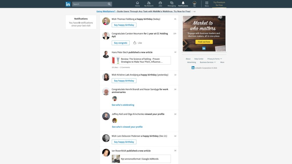 Nyt LinkedIn desktop look: Notifikationer