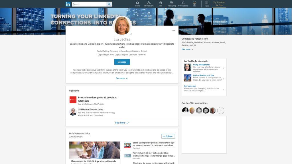 Nyt LinkedIn desktop look: Profilvisning