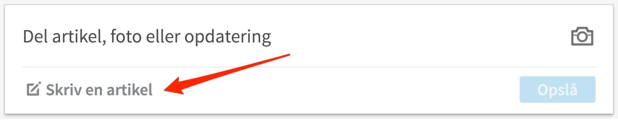 Blogindlæg om forskellen på en statusopdatering og en LinkedIn artikel