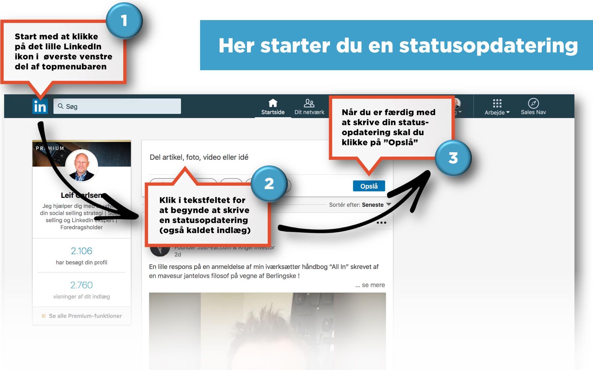 Blogindlæg om forskellen på en statusopdatering og en artikel på LinkedIn