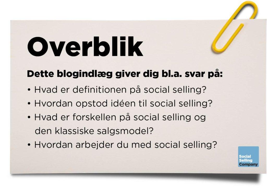 Blogindlæg med definitionen på social selling
