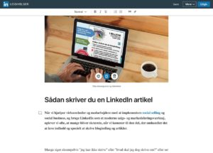 Blogindlæg om hvad forskellen er på en statusopdatering og artikel på LinkedIn