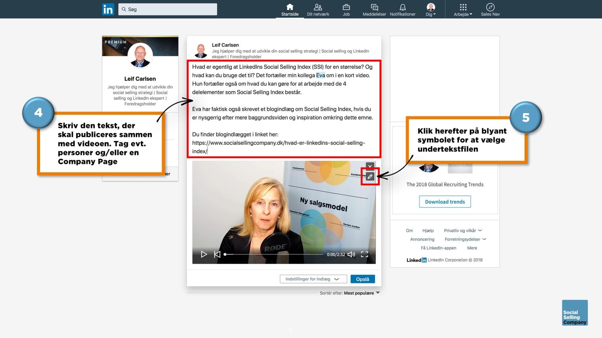 Guide til hvordan du laver undertekster på videoer på din personlige LinkedIn profil