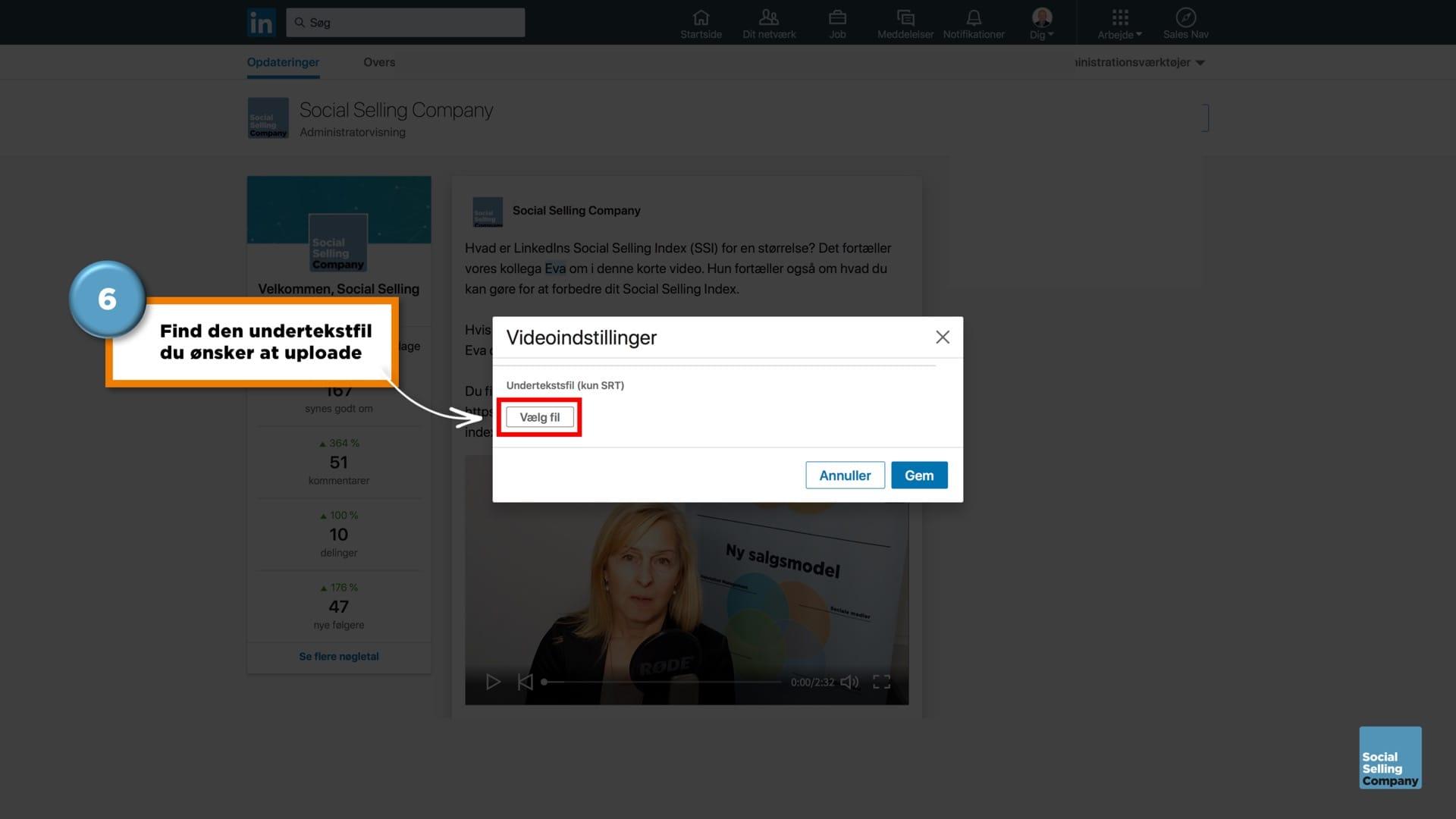 Guide til hvordan du laver undertekster på videoer på en LinkedIn Company Page