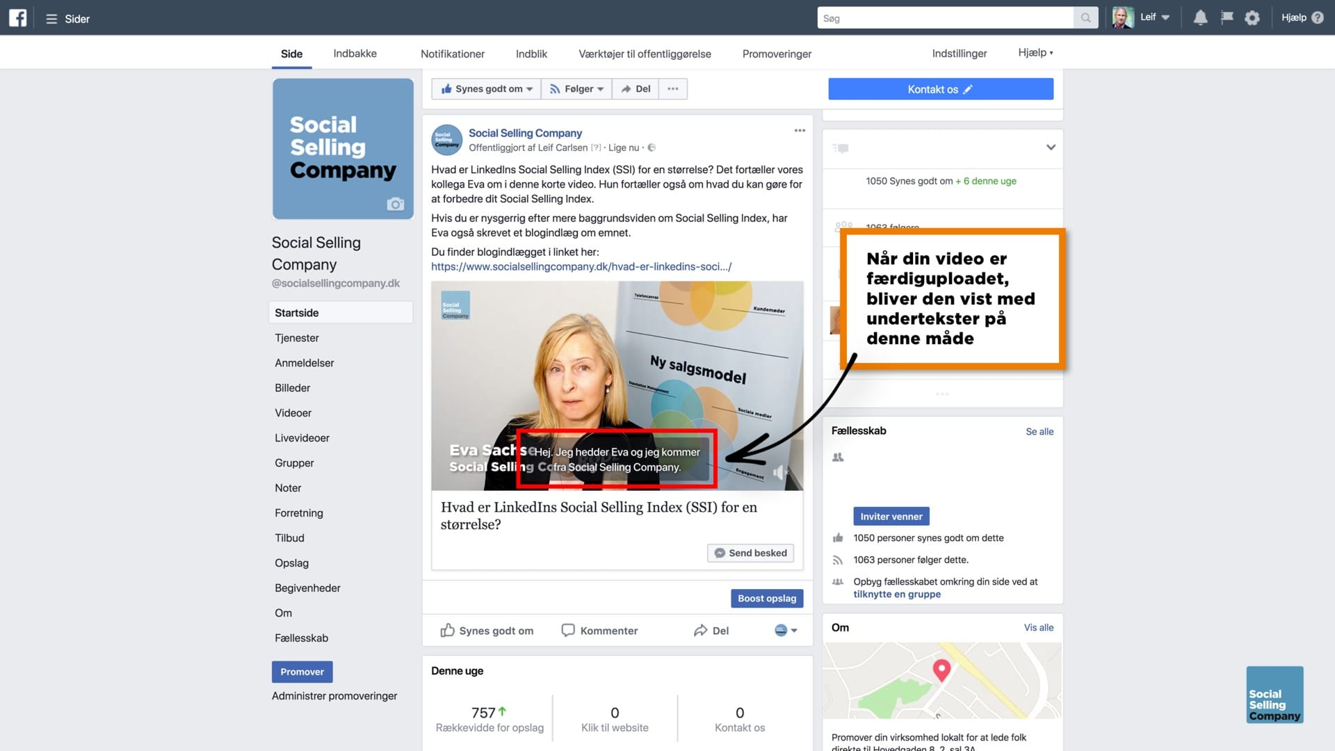 Blogindlæg om hvordan du får undertekster på en video på LinkedIn, Facebook og YouTube
