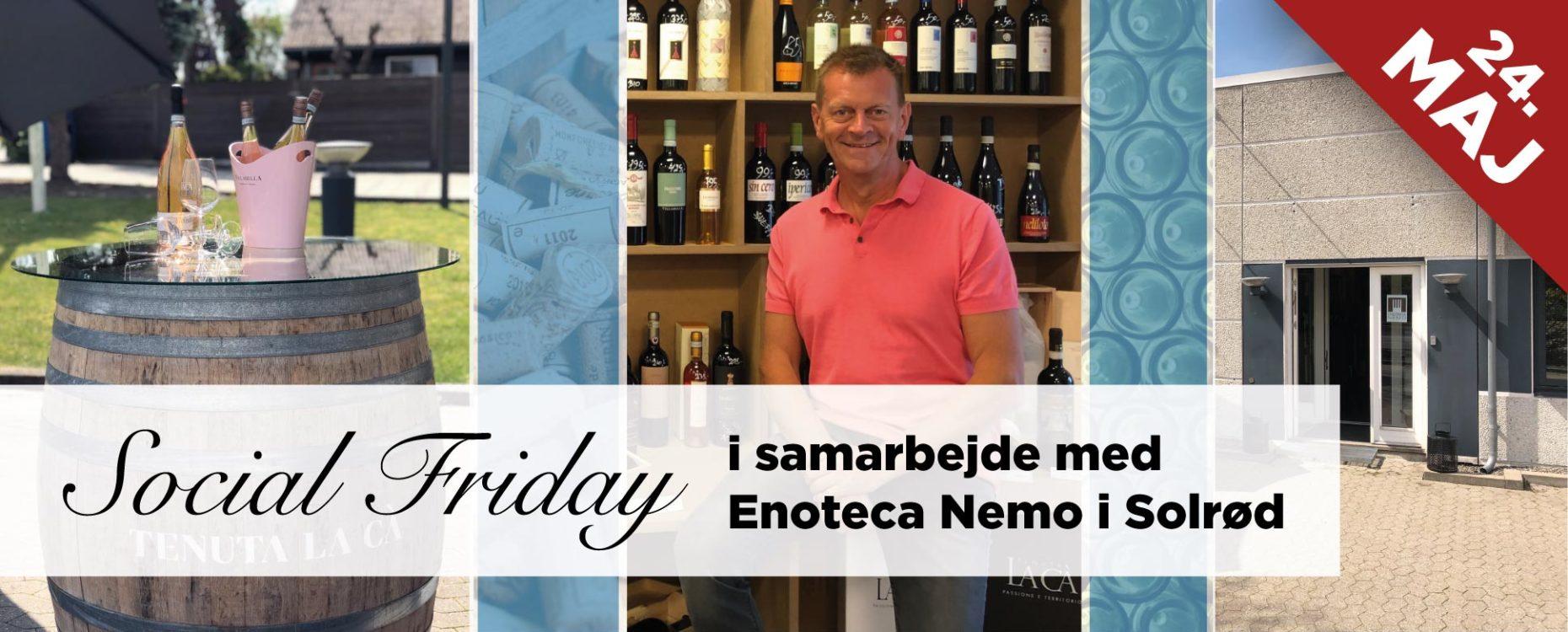Information om Social Friday hos Social Selling Company i samarbejde med Enoteca Nemo i Solrød
